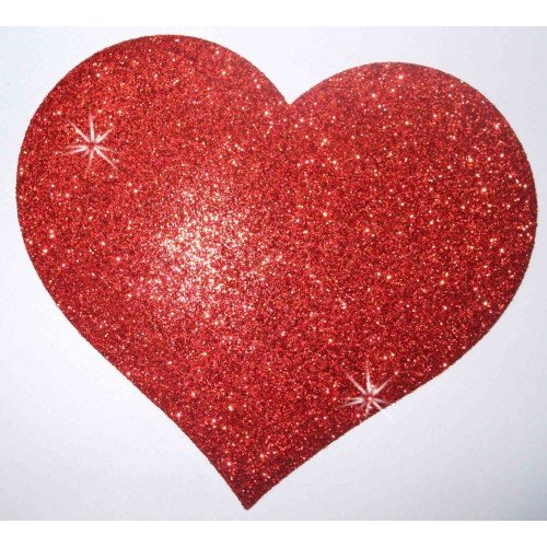 2X Stof Glitter 4 Inch Hart Rood Iron-On Craft Dance Kostuum Tshirt Transfer Patch