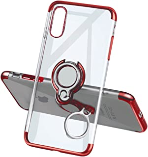 Yoopake iPhone XR Case Clear Slim Fit Ultra Thin Cover with Grip Ring Holder Stand (360° Rotatable) and Magnetic Back for Car Mount, Protective Phone Case for iPhone XR (Newly Released)- Red