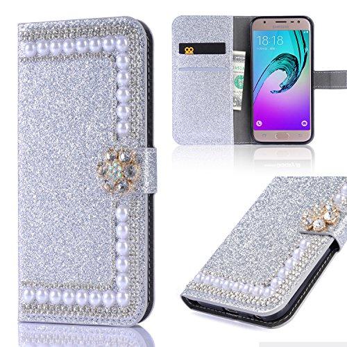 Cover Galaxy J5 3D Bling Bling Glitter Brillantini Brillante Argento Case Caso Guscio Shell Wallet Premium PU e Glitter Brillanti 3D Fiore di Perla Strass Magnetico Cover per Samsung Galaxy J5 2016