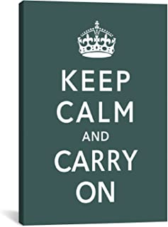 iCanvasART Keep Calm and Carry on Green Canvas Art Print, 26 by 18-Inch