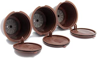 Goolsky 3Pcs Refillable Nescafe Reusable Refill Capsule Eco-Friendly Single Coffee Filters Pods Compatible with Nescafe Do...