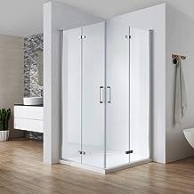 Cabina de ducha plegable 75 x 90, puerta de entrada en esquina, plegable 180°, se abre hacia dentro y exterior, cristal templado Nano de 6 mm, altura 195 cm