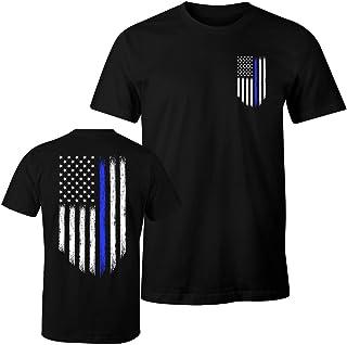 Fantastic Tees Thin Blue Line USA Flag Patriotic Police Support Men`s T Shirt