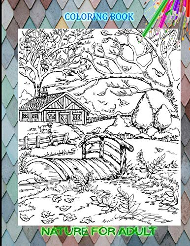 coloring book Nature for adult: Landscape, forest, mountains, sea, island...