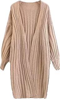 Milumia Women Casual Open Front Drape Lightweight Knit Sweater Long Trench Cardigan Maxi Duster Coat Khaki One-Size