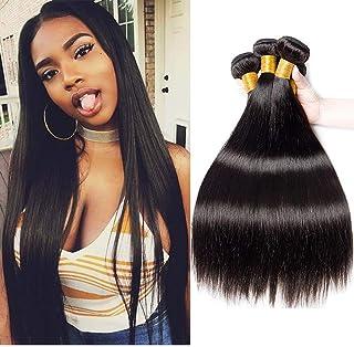 ستارة شعر طويلة سوداء من Elegdy مصنوعة من شعر طبيعي برازيلي عالي الجودة بدرجة 10A يمكن صبغه طبيعيا (المقاس: 45.72 سم)