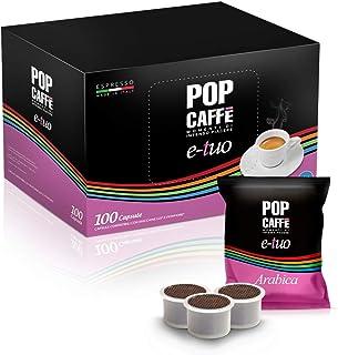 Pop Caffè E-Tuo Lot 100 capsules de café Arabica compatibles avec les machines à expresso Mitaca MPS, Fior Fiore, Lui Espr...