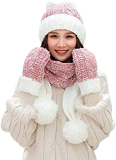 Swyss 3Pcs Women Winter Warm Multicolor Knitted Beanie Hat+Scarf+Gloves Set -Keep Warm in Cold Weather