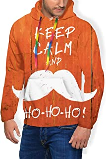 GULTMEE Men's Hoodies Sweatershirt, Keep Calm and Ho-Ho-Ho Words with Moustache and Snowflake Humor Funny Design,5 Size