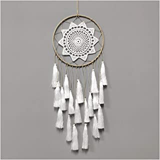 Artilady Macrame Dream Catchers for Bedroom - Tassel Wall Hanging Handmade Dreamcatchers Home Decor with Tassel Feather Ornament Craft Blessing Gift (White Tassel)