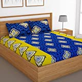 Story@Home Candy Double Bedsheet with 2 Pillow Covers, Yellow & Blue Abstract