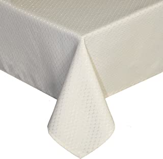 UFRIDAY Elegant Design Waffle Tablecloth Water-Repellent and Oil Proof Fabric, Decorative Polyester Table Protector Stain-Resistant, Creamy White, Rectangle, 60 inches x 84 inches