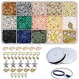 Potosala - Cuentas planas de arcilla polimérica hechas a mano, 6 mm, 2600 unidades, hechas a mano, cuentas espaciadoras para pulseras, pendientes, collares y joyas