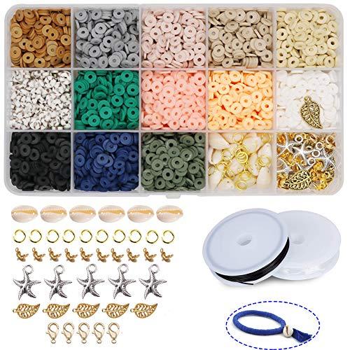 Potosala Perles plates faites à la main en argile polymère 6 mm 2600 pièces Perles d'espacement en vrac pour bracelets, boucles d'oreilles, colliers, bijoux