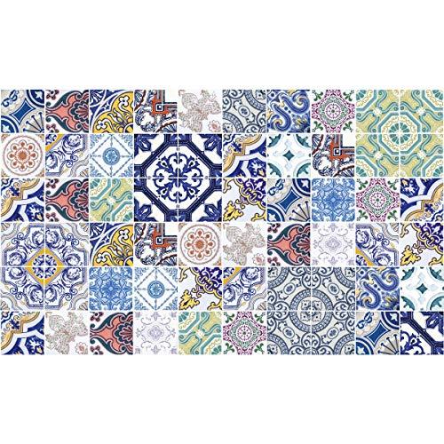 60 tegelstickers | stickers zelfklevende tegels – mozaïek tegels wandtattoo badkamer en keuken | tegellijm – meerkleurig elegant – 10 x 10 cm – 60-delig