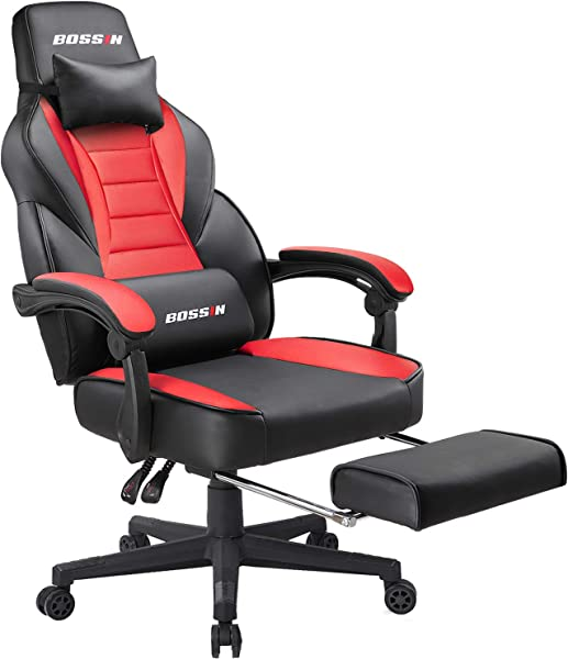 BOSSIN 赛车风格的电竞椅电脑椅子脚凳和头枕人体工学设计大尺寸高回 E 运动 PU 皮椅转椅办公椅子红