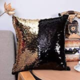 casemantra® Black and Gold Sequin Pillow, Reversible Glitter Sequins Cover Magic Mermaid Pillowcase Color Changing Decor Cushion Covers for Sofa (16'X16')