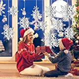 CCINEE 12 Pieces 3D Snowflake Hanging Garland with String for Christmas Winter Wonderland Decorations,Silver