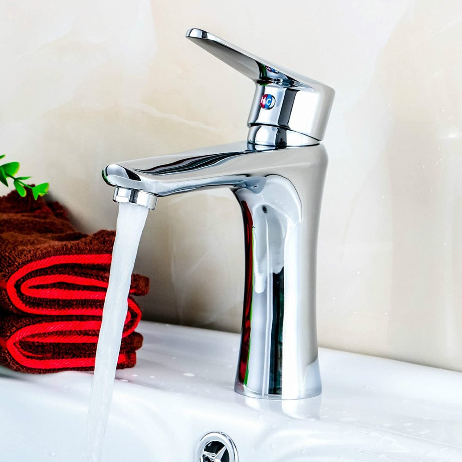 Hlluya Professional Sink Mixer Tap Kitchen Faucet Full Hot and cold copper single hole basin Mixer Taps ceramic basin Mixer Taps Corrosion Resistant