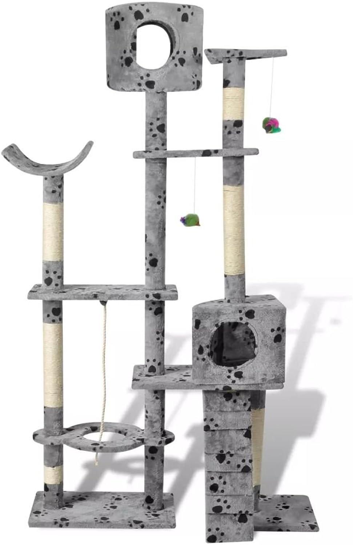 Daonanba Cat Scratcher Post Safe Cat Tree Cat Play Center Pet Supply 175 cm 2 Condos Grey with Pawprints