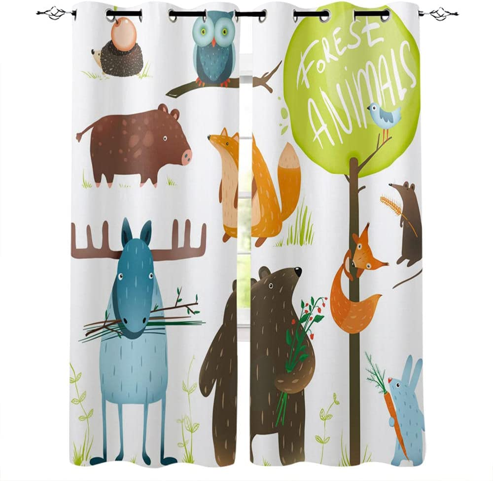 Cartoon Forest New York Mall Animal Tree Fox Children Curtains Bear Limited Special Price for Rabbit