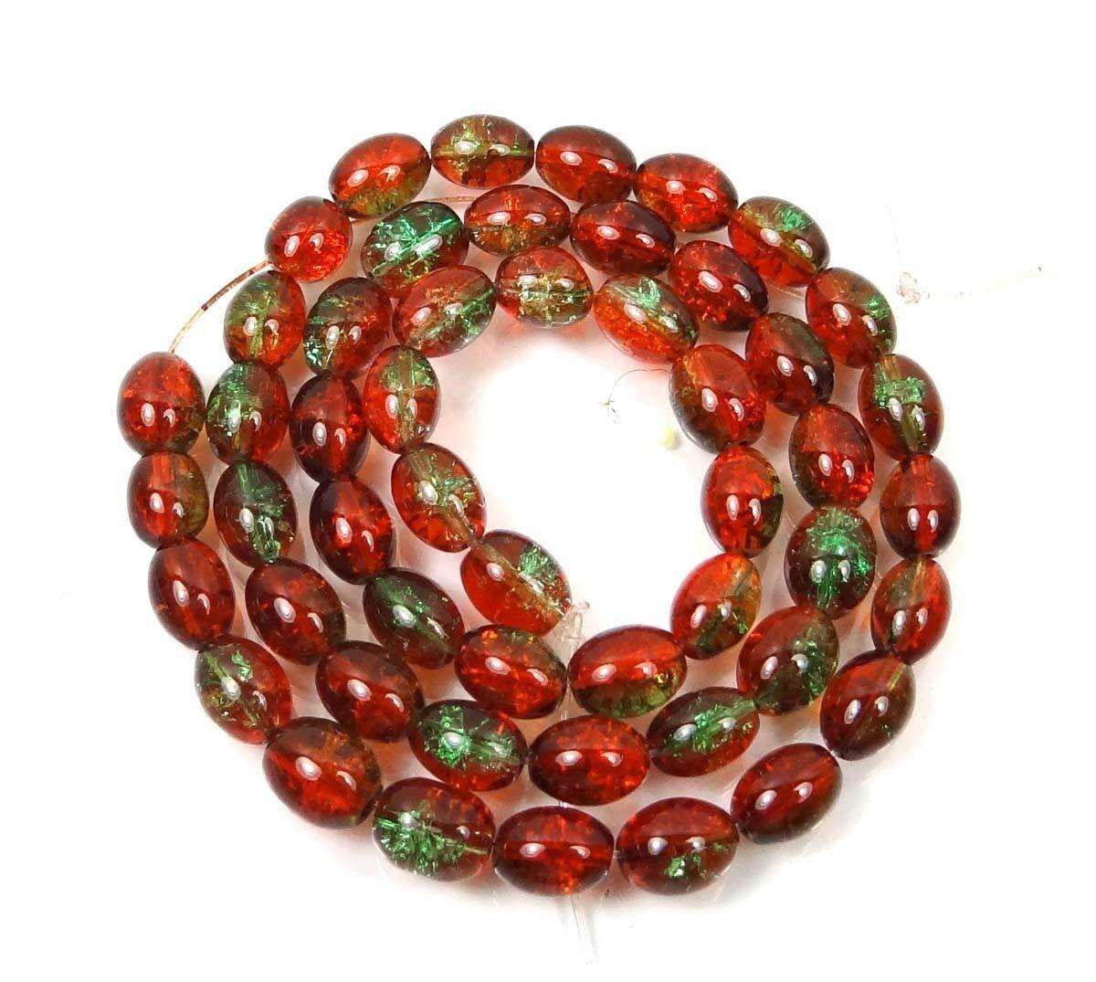 """8x6mm Czech Glass Crackle Cracked Barrel Rice Beads Green // Amber 50 16/"""""""