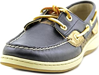 Sperry Women's Bluefish Leather Sparkle Leo Black Boat Shoes