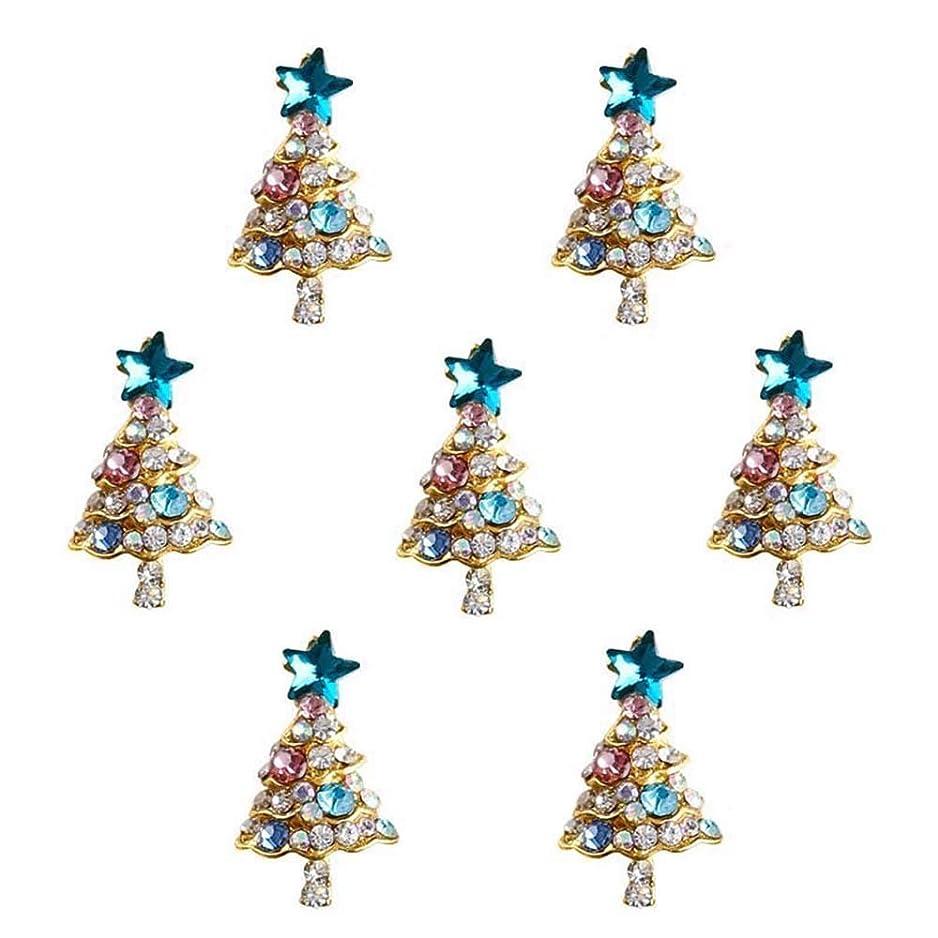 保有者保守的拍手10個入り/ロット3Dラインストーンの装飾ブルーグリッタースタークリスマスツリーのデザイン接着剤ネイルアートDIYスタッドは、合金用品