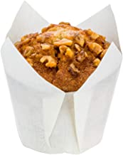 Panificio Premium 4 oz White Paper Tulip Baking Cup: Paper Baking Cups Perfect for Muffins, Cupcakes or Mini Snacks - Greaseproof - Disposable and Recyclable - 200ct Box - Restaurantware