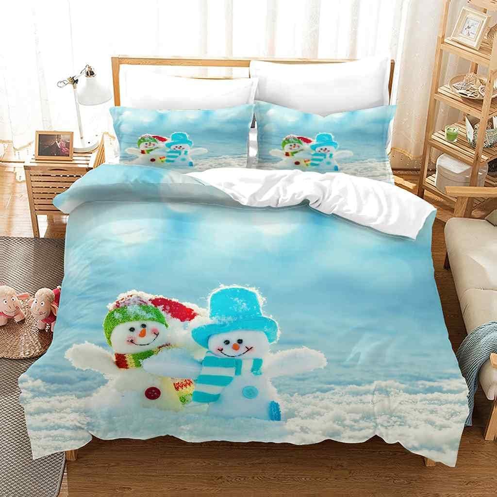 NVRBTF Twin Duvet Cover Cheap super special price Set Microfiber So Blue Charlotte Mall Christmas Snowman