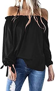 c10386a48e6c2 OrchidAmor Women Casual Boat Neck Long Sleeve Cold Shoulder T-Shirt Tunic Top  Blouse