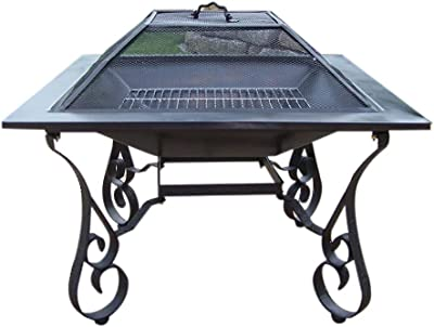 Oakland Living Victoria 33-Inch Fire pit with Grill, Iron Construction