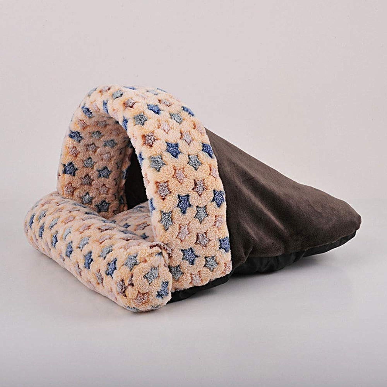 FELICIOO Cat Litter Cat House Cat Sleeping Bag Puppy Nest Pet Supplies (color   Brown, Size   L)