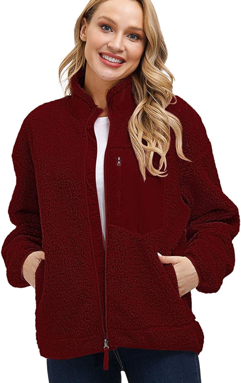 Fixmatti Women Fleece Fuzzy Faux Fur Jacket Zip Up Outwear Coats