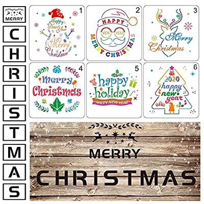Guwheat Christmas Stencils for Painting on Wood Reusable Template for Christmas Decor Fabric Canvas, Wall, Door, Window, Furniture Painting Xmas Templates (16 PCS Style A)
