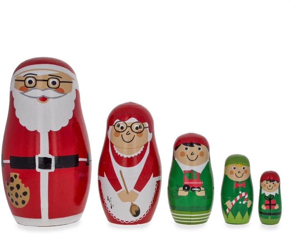 BestPysanky Set of 5 Santa Mrs. Max 69% OFF Claus Cheap mail order sales Wooden Nes Snowman Elf