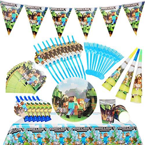 Herefun Stoviglie per Feste di Compleanno. 64 Pezzi Forniture per Feste per Bambini stoviglie, Biglietti d'invito, Banner, Tovaglie. per Feste, Compleanni, Anniversari, Matrimoni, Festa a Tema