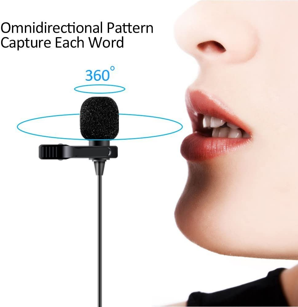 MAONO AU-100W Omnidirectional Hands Free Clip-on Lapel Mic with Flat Frequency and High Sensitivity for Podcast Lavalier Microphone Camera Laptop DSLR Smartphone Recording