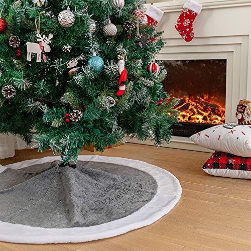 N /A Henrey Tech Weihnachtsbaum Rock Tannenbaum Decke Kurzer Plüsch Grau und Weiß Teppich 122 cm/48 inch für Weihnachten Neues Jahr Dekoration