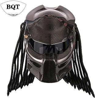 BQT Motorcycle Predator Carbon Fiber Helmet, Full Face Helmet Anti-Fog Lens Four Season Men and Women Helmet with Light, Removable and Washable Mat, DOT Safety Certified(Black)