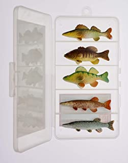 Northern Angler Collection Toy Fish Set with Collector Case Musky Northern Pike Walleye Smallmouth Bass Yellow Perch Figurine Fish by Toy Fish Factory