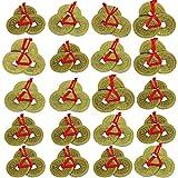Gobesty Monedas chinas Feng Shui, 5 estilos de monedas chinas de la suerte tradicionales con cordón rojo, para la riqueza y el éxito de la suerte y la salud (15 monedas, 1 cuerda de 5)