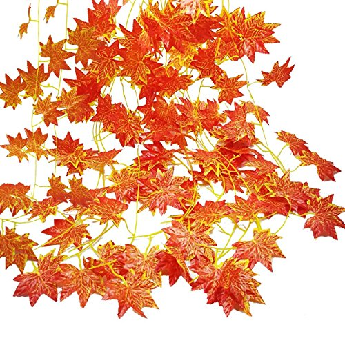 Guirnalda otoñal de GoFriend con 12hebras (27 m), hojas artificiales de color rojo arce, decoración de plantas colgantes para otoño y Acción de Gracias