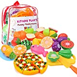 Kitchen Toys Fun Cutting Fruits Vegetables Pretend Food Playset for Children Girls Boys Educational...