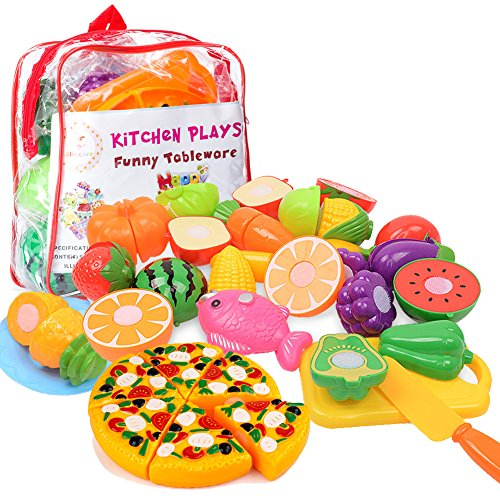Kimicare Kitchen Toys Fun Cutting Fruits Vegetables Pretend Food Playset for Children Girls Boys Educational Early Age Basic Skills Development 24pcs Set, Multicolors