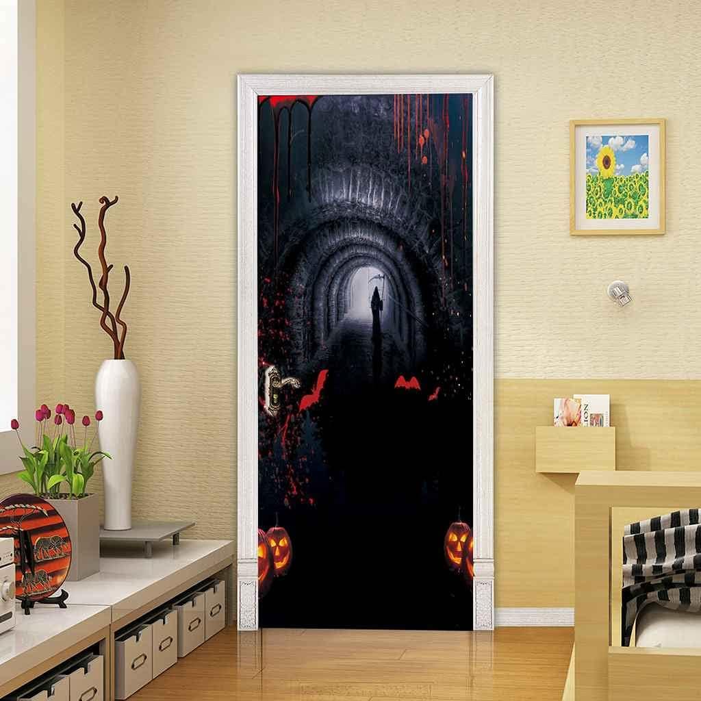 BARFPY 3D Door Sticker Wall Water Halloween Mural Brand Cheap Sale Venue shop Hallway Decals