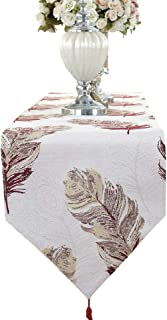 HomeyHo Flower Table Runner Wedding End Table Runner for Living Room Dinning Table Runner Long Embroidery Table Runner Floral Embroidery Table Runner Western Table Runner Party, 13 x 71 Inch, Red