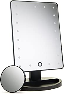 Natural Daylight Lighted Makeup Mirror/Vanity Mirror with Touch Screen Dimming, Detachable 10X Magnification Spot Mirror, Portable Convenience and High Definition Clarity Cosmetic Mirror