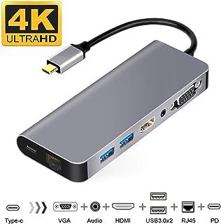 USB C HDMI VGA変換 USB C ハブ 7in1 USB Type C ハブ HDMI Samsung Dexモード USBC HDMI LAN 1000Mbps対応 usb type c 変換 3.5mmオーディオ/PD充電/RJ...