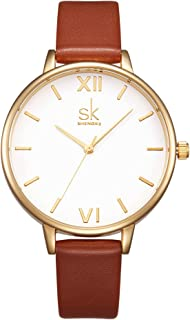 SK SHENGKE Women Watches Leather Band Luxury Quartz Watches Girls Ladies Wristwatch Relogio Feminino